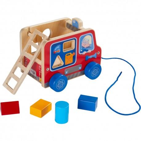 Camion de pompiers - HABA - Jouets à traîner - Formes et couleurs - Jouets en bois