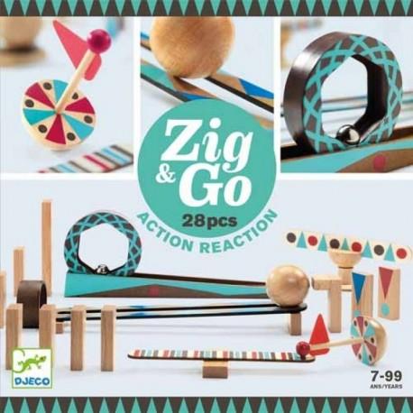 Zig & GO 28 pièces - Jeux logiques - Empiler Assembler - Jouets en bois