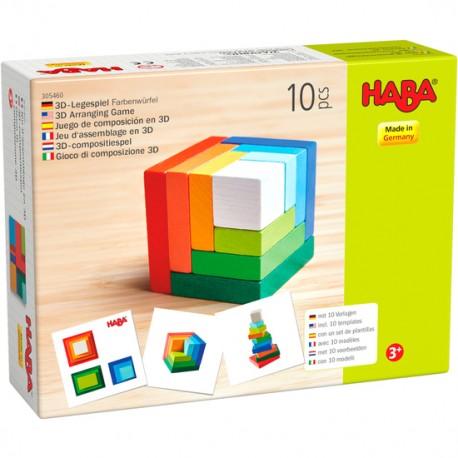 Jeu d'assemblage en 3D Cube multicolore - HABA - Empiler Assembler - Jouets en bois
