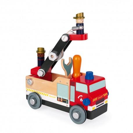 Camion de pompiers - Janod - Jouets roulants - Empiler Assembler - Jouets en bois