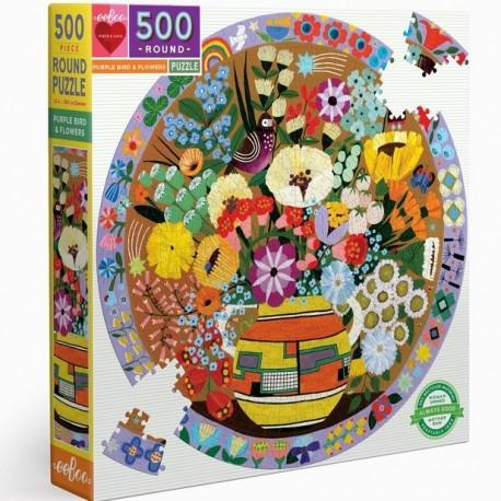 500 Purple Bird and flowers - DE 150 à 1000 pièces - Puzzles