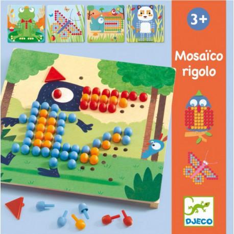 Mosaïco Rigolo - Djeco - Jouets en bois  - Cubes, clous, mosaïques - Formes et couleurs